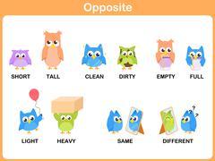 Opposite word for preschool Stock Illustration