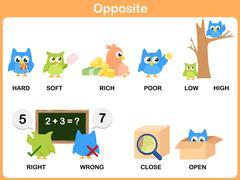 Opposite word for preschool - stock illustration
