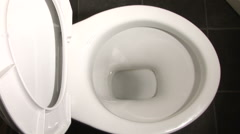 Flushing a toilet including sound Stock Footage