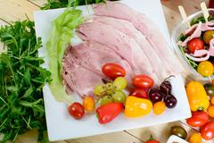 choice of cold cuts - stock photo