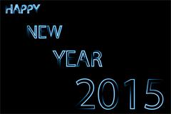 Happy new year 2015 blue neon Stock Illustration