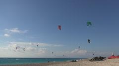 Kitesurfing contest on lefkada beach in summer vacation. Stock Footage
