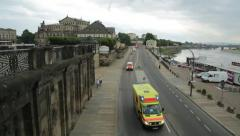 Emergency vehicles in Dresden Stock Footage