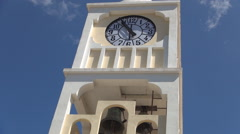Clock tower of a church in a village, Greece Stock Footage