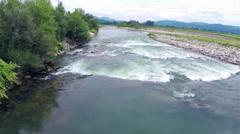 Aerial flight over river Sava in Slovenia Stock Footage