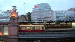 An S-Bahn train arriving at Hackescher Markt in Berlin Stock Footage