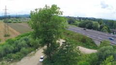 Aerial busy highway with bridge Stock Footage