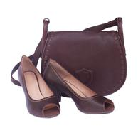 brown female bag with shoes and scarf - stock photo