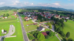 Aerial of Small Village Under a Cloud Stock Footage