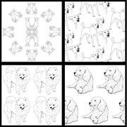 Seamless pattern of dog-black and white Stock Illustration