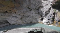Birds eye view of liwu river and pothole in rock cliff Stock Footage
