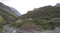 Pan - Tianxiang river terrace silks place Stock Footage