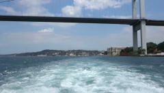 Passing under the Bosphorus Bridge in Istanbul Turkey Stock Footage