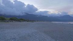 Pan at Qixintan Beach, Hualien Stock Footage
