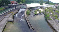 Aerial flight over kayaking terrain rapids Stock Footage