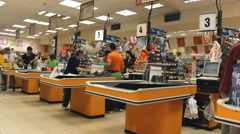 Shopping market store place grocery timelapse,cash registers in the store Stock Footage