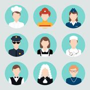 Stock Illustration of Avatar Flat Icons Set