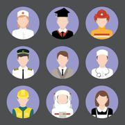Professions avatar flat icons set - stock illustration