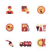 Fuel Pump Icons Set Stock Illustration