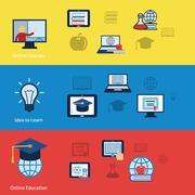 Online education banners - stock illustration