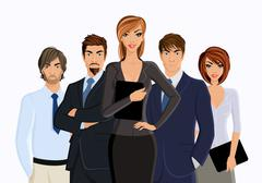 Busines woman with business team - stock illustration