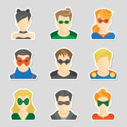 Set of avatar stickers - stock illustration