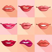 Set of Lips - stock illustration
