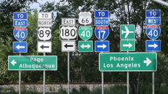 Route 66 Highway Signs Stock Footage