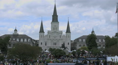 New Orleans French Quarter cathedral timelapse sky 4k - stock footage