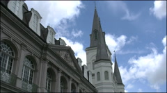 New Orleans French Quarter cathedral spires  4k Stock Footage