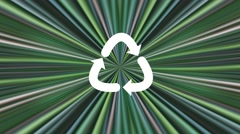 White recycling symbol on green spectrum Stock Footage