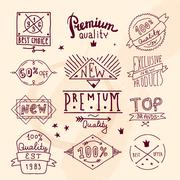Premium retro quality emblem - stock illustration