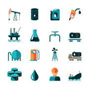 Oil Industry Icons - stock illustration