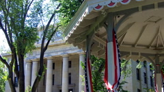 Detail Shot- Historic Yavapai County Court House, Band Stand- Prescott AZ Stock Footage
