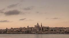 The skyline of Valletta (capital of Malta)  at sunrise Stock Footage