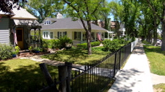 Idyllic Old Style Neighborhood Homes In Medium Sized City Stock Footage