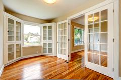 Empty house interior. view of entrance hallway and office room Stock Photos
