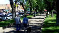 Mature Couple Walks Dog- Downtown Prescott AZ Historic District Stock Footage