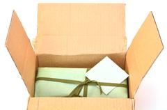 olive green gift box - stock photo