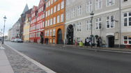 Stock Video Footage of View of colorful street in Copenhagen Nyhavn