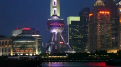 Shanghai, China, Oriental Pearl Tower in Pudong District Stock Footage
