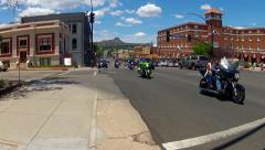 Motorcycle Riders On East Gurley Street- Prescott Arizona Stock Footage
