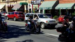 Motorycle Riders Downtown Prescott Arizona Montezuma Street Stock Footage