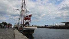 Danish Flag on Sailboat Stock Footage