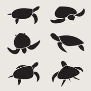 vector group of turtle - stock illustration