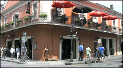 New Orleans French Quarter tourists on street 4k Stock Footage