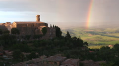 Rainbow church of Montaicino rural Italian countryside Tuscany Italy - stock footage