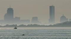 Motorboat in Hazy Boston Harbor - stock footage