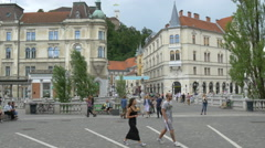 LJUBLJANA, SLOVENIA - JULY 2014: Major square (Preseren square) Stock Footage