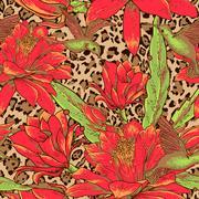 Seamless floral pattern on leopard background Stock Illustration
